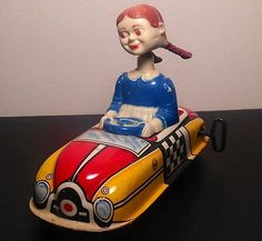 Vintage Marx Tin Litho Wind Up Windup Toy Girl Driving Car Bobble Head Works