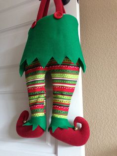 Elf Trouser Pants Christmas Stocking by BuckaLuck on Etsy