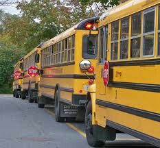 School Buses Loading at School for afternoon routes