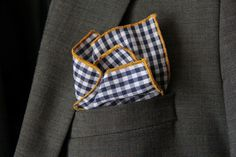 Pocket Square Navy Blue Gingham w/Mustard Gold Piping by SirChamber on Etsy https://www.etsy.com/listing/176819359/pocket-square-navy-blue-gingham-wmustard