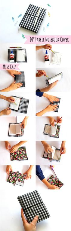 Step by step tutorial on how to make a DIY fabric notebook cover! - By Miss Caly                                                                                                                                                                                 More