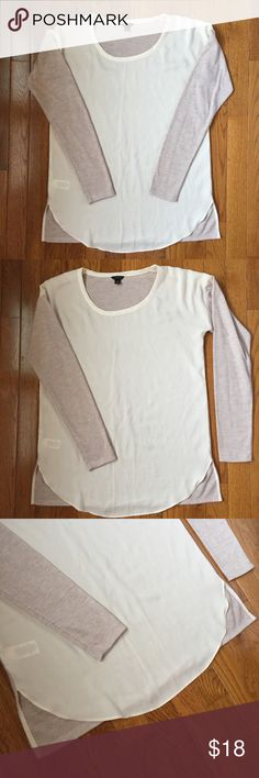 Ann Taylor mixed media top Great condition. Classic t-shirt with a twist. Semi-sheer blouse front with heathered rose color cotton back and sleeve. Never placed in the dryer. Smoke free home. Ann Taylor Tops Tees - Long Sleeve