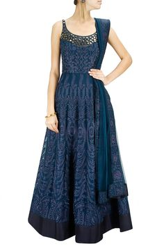 Navy blue tone-on-tone embroidered anarkali with matching dupatta available only at Pernia's Pop-Up Shop.
