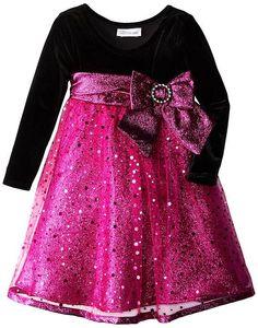 Pretty in pink with plenty of SPARKLES! ~ Bonnie Jean Black Fuchsia Sparkle Mesh Empire Dress Girls 4-6x #Christmas