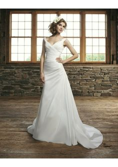 hair and makeup-- Satin Portrait Neckline Lace up Rouched A-Line Wedding Dress with Plain Sweep Train SI-0037