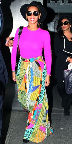 04/01/12: Summer can't come soon enough for this colorful star! #Beyonce heated up a chilly N.Y.C. day with her bright, tropical separates. http://www.instyle.com/instyle/celebrities/lotdpopup/0,,20583339_21141101,00.html