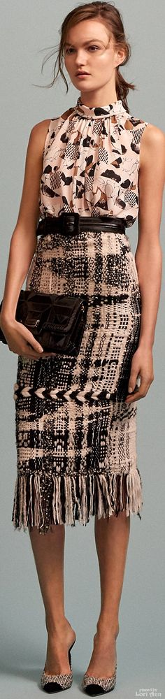 Oscar de la Renta Pre F-16, neutrals printed: sleeveless top, belt, wool pencil skirt, purse.