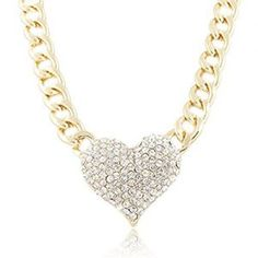 Doinshop-Ladies-3d-Heart-Pendant-Chain-Necklace-with-a-16-Inch-Adjustable-Link-Jewelry-0
