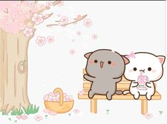Cute Animal Drawings Kawaii, Cute Kawaii Animals, Kawaii Cat, Cute Drawings, Chibi Cat, Cute Chibi, Cute Love Gif, Cute Cat Gif, Kawaii Doodles