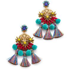 Elizabeth Cole Zwena Earrings (614 AUD) ❤ liked on Polyvore featuring jewelry, earrings, tropical, tassle earrings, pom pom earrings, tassel jewelry, colorful earrings and multi colored earrings