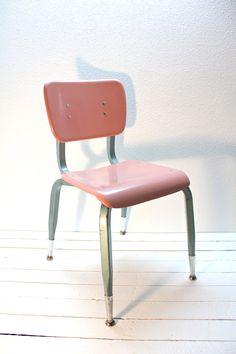 Industrial School House Chair Fiberglass Mid Century