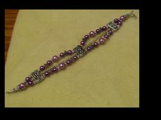 Purple and Silver Pearl Bracelet, Size 9