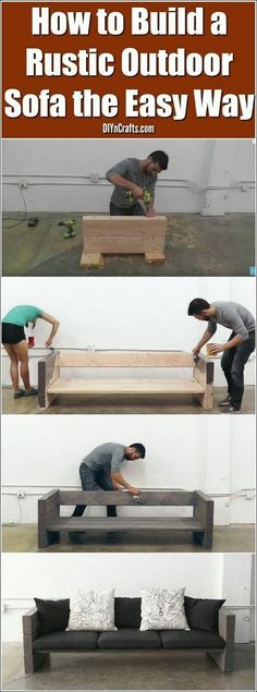 Rustic outdoor sofas, Diy patio, Patio sofa, Wood diy, Easy home decor, Woodworking projects diy - Whether you're aiming to develop a desk for the very first time, or you want a difficulty, you'll loc -  #Rusticoutdoor #sofas