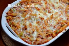 This is not your lunch ladies mostaccioli! Or your wedding day mostaccioli. This is your connoisseur's mostaccioli with sausage, peppers, garlic, onions and marinara. It is blanke...