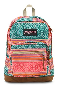 The new JanSport Fluorescent Red Golden Summer Right Pack backpack from the World Collection features a laptop sleeve and the signature suede leather bottom.