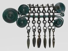 Copper alloy fibula of the passementerie type. Late Bronze Age European, German culture, century B. This is the largest, most ornamental brooch that has survived from this period. Look at the ducks! Viking Jewelry, Ancient Jewelry, Antique Jewelry, Tribal Jewelry, Passementerie, Iron Age, Dark Ages, Ancient Artifacts, Metropolitan Museum