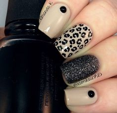 Nude nails cheetah black glitter nails