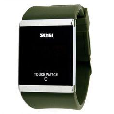 Skmei Trendy Colorful LED Touch Digital Watch,Men Watch,Women Watch,Casual Sport,Rectangle Shape Dial Rubber Band Watch