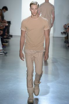 Calvin Klein Collection Men's RTW Spring 2015 #men #spring  Like neckline, silhouette, sleeve fit and tonal colors.