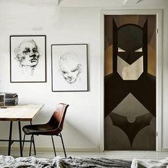 Batman Door Decals – the treasure thrift Superhero Door, Superhero Party, Batman Room, Door Stickers, Used Vinyl, Door Wall, Birthday Diy, Internal Doors, Kids Playing
