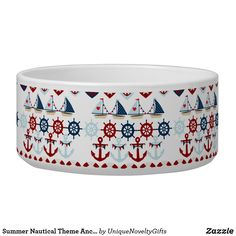 Summer Nautical Theme Anchors Sail Boats Helms Bowl Nautical Colors, Nautical Theme, Dog Water Bowls, Pet Bowls, Pink Polka Dots, Novelty Gifts, Dog Design, Dog Friends, Keep It Cleaner