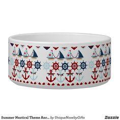 Summer Nautical Theme Anchors Sail Boats Helms Bowl
