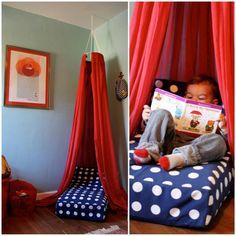 Repurpose an old crib mattress into a reading nook