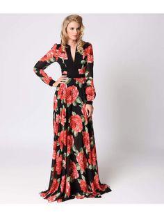 Retro 1970s Style Black & Pink Floral Long Sleeve Chiffon Maxi Dress