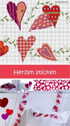 Embroider garland from the heart - Discover numerous free charts for embroidery! Embroider romantic hearts on pillows or table runners stitch / / Cross Stitch Heart, Cross Stitch Borders, Modern Cross Stitch, Cross Stitch Flowers, Cross Stitch Designs, Cross Stitching, Cross Stitch Embroidery, Cross Stitch Patterns, Embroidery Hearts