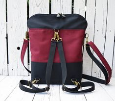 Burgundy Black College Backpack Convertible Bag Canvas
