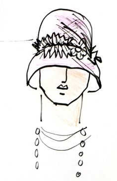 created by me - Gwen Coppari Hat design - simple line drawing of a cloche hat Simple Line Drawings, Easy Drawings, Cloche Hat, Drawing Stuff, Simple Lines, Fashion Illustrations, Simple Designs, Mosaic, Studio
