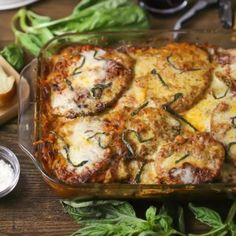 Tender breaded eggplant, layered with sauce and cheese and baked until bubbly. Veggie Dinner, Thing 1, Eggplant Parmesan, Hello Sunday, Cast Iron Cooking, Easy Meals, Cooking Recipes, Vegetarian, Yummy Food