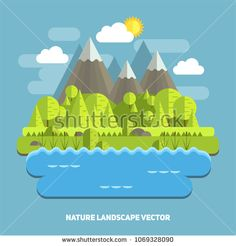 flat style nature mountain landscape