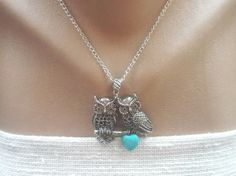 Owl Necklace Love2 Owls on the Branch Turquoise by IriscaJewelry, $11.00