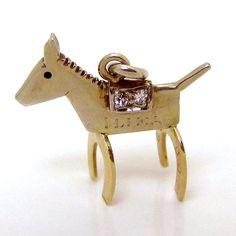 Vintage 14K Gold 3D Hawaiian Ilima Good Luck Pony w/Diamonds Charm from charmalier on Ruby Lane