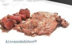 ■ LOMO a la CERVEZA   • Ingredientes 4 pnas:   - 1 pieza de Lomo (a filetes, unos 800g aproximadamente)  - 4 Zanahorias Troceadas  - 1Cebolla (Picada)  - ... * Pinchar Visitar para ver la receta completa.