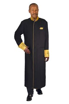 Regal Robes Mens Choir Robe RR9091- Men's cuffed cassock church robe with covered buttons, fully lined. Polyester with Poly satin cuff and collar.