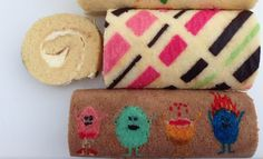 Rocambole decorado !! Muito legal !!! Patterned Roll Cake Recipe HOW TO COOK THAT Ann Reardon dumb ways to die