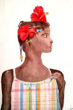 Haitian Girl - Original Watercolor Painting by PinarBelendir on Etsy
