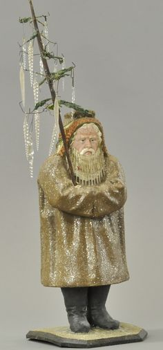 Large German Santa Claus candy container with glass beard, composition figure wearing long brown robe flecked with mi. Old Time Christmas, Merry Christmas To All, Antique Christmas, Primitive Christmas, Christmas Candy, All Things Christmas, Christmas Holidays, Christmas Crafts, Christmas Decorations