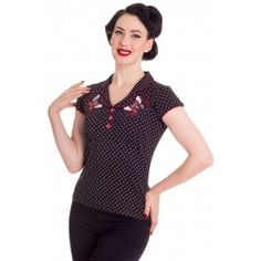 Top Tee Shirt Rockabilly Pin-Up Rétro 50's Papillons Scarlett