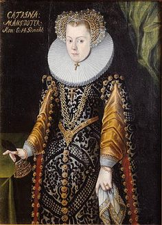 Elizabeth Vasa *1549+1597 daughter of Gustaf I.or Karin Mansdotter mistress and Queen of Sweden Eric XIV.Vasa- This disputed picture has long been considered to be of Karin Månsdotter, but now, it is presumed to be of her sister in law Princess Elizabeth; the text on the picture is believed to have been added much later, when one felt a need of a portrait of Queen Karin, but it was probably painted in ca 1580, when Elizabeth was engaged. Medium	oil-Nationalmuse Stockholm>>>Princes...