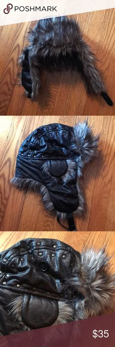 NWOT Steve Madden winter fur hat! NWOT Steve Madden fur winter hat!!! Side fur can be flipped up and buttoned, cool studded design! Super soft fur! Steve Madden Accessories Hats