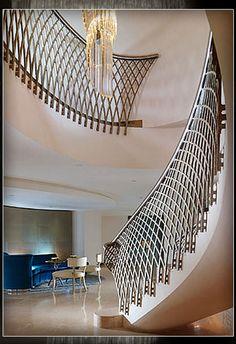 Circular masonry staircase - DORCHESTER by Fox Linton - elite metalcraft
