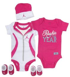 Jordan Baby Clothes Rookie of the Year Set for Baby Boys and Girls (One Size Months) Pink, Months Two Short Sleeve One Piece Bodysuits Logo Jordan Baby Beanie; Two Pairs of Logo Jordan Booties Packaged in Nike Jordan Gift Box Nike Outfits, Boy Outfits, Couple Outfits, Cute Baby Girl, Cute Babies, Baby Boys, Babies Stuff, Baby Girl Fashion, Kids Fashion