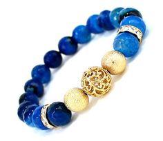 Charm Bracelet  Blue Beads Dragon Quartz  by VeeRamzJewelry