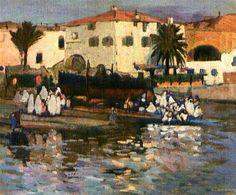 Algérie - Peintre Français, Léon CAUVY (1874-1933), Huile sur toile,Titre : Mauresques de baignant au port d'Alger