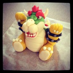 Bowser For My Son's Birthday Cake! Made from fondant