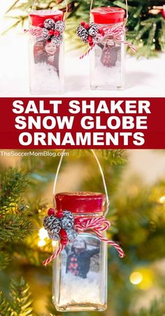 The Salt Shaker Snow Globe Ornaments are a uniquely beautiful handmade Christmas ornament and holiday keepsake. This DIY picture snow globe ornament is perfect to make in the classroom as a take-home gift for parents or at crafting parties! Diy Christmas Gifts For Parents, Christmas Crafts To Sell Bazaars, Christmas Crafts To Sell Handmade Gifts, Christmas Crafts For Toddlers, Christmas Gift Baskets, Christmas Gifts For Mom, Diy Ornaments For Kids, Holiday Crafts, Handmade Ornaments