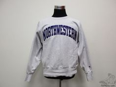 Vtg 90s Champion REVERSE WEAVE Northwester Wildcats Sweatshirt sz L Large SEWN #Champion #NorthwesternWildcats